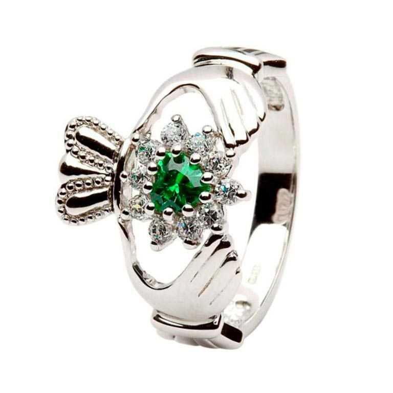 Claddagh Silver Stone Set Ring Sl95
