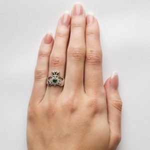Claddagh Silver Stone Set Ring Sl95_2
