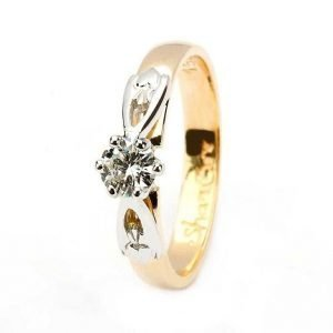 Claddagh Solitaire Diamond 14K Yellow And White Gold Ring Round Cut 14M1S4Yw