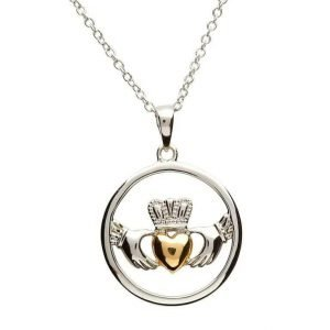 Claddagh Sterling Silver Gold Plate Heart Necklace Sp1080