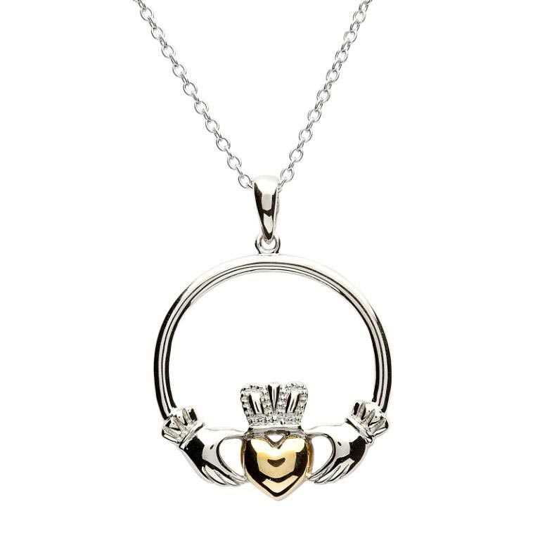 Claddagh Sterling Silver Gold Plate Heart Necklace Sp1081
