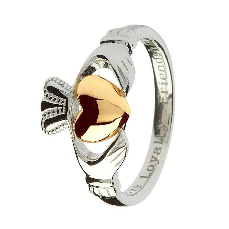 Claddagh Sterling Silver Ring With Real 10K Gold Heart Sl96