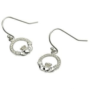 Claddagh Stone Set Silver Earrings Se2071Cz