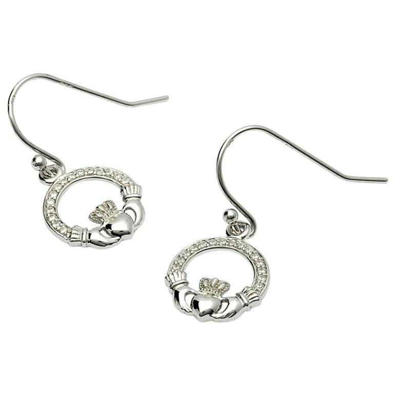 Claddagh Stone Set Silver Earrings Se2071Cz