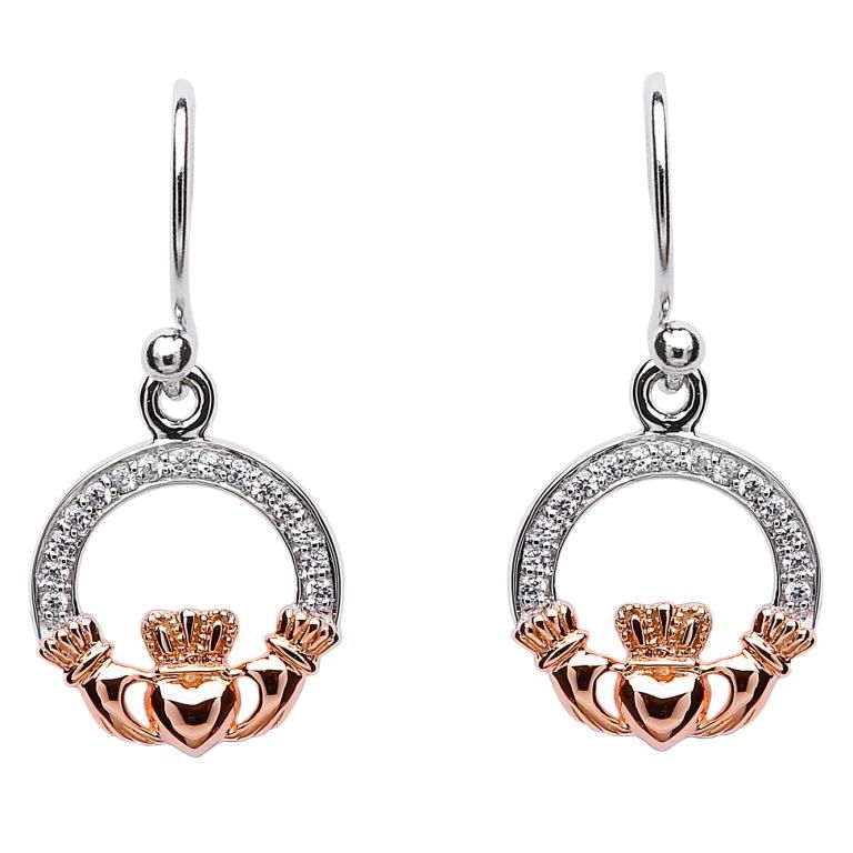Claddagh Stone Set Silver Rose Gold Plated Earrings Se2083Cz