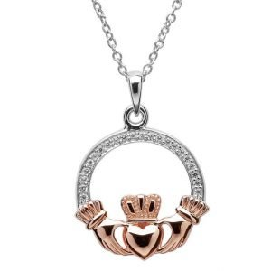 Claddagh Stone Set Silver Rose Gold Plated Necklace Sp2082Cz