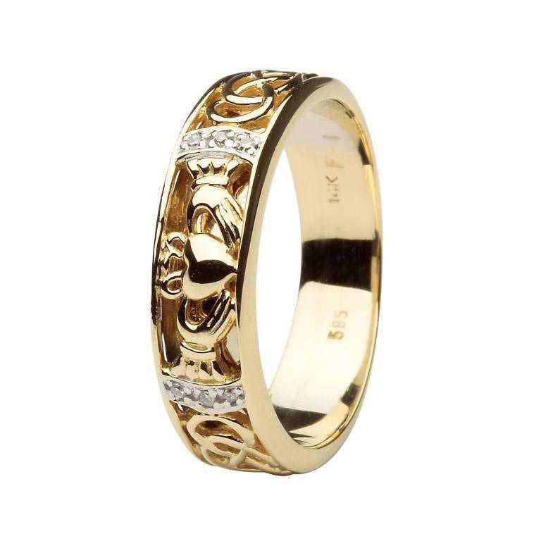 Claddagh Wedding Band Diamond Set With Celtic Knotwork 14Ic4