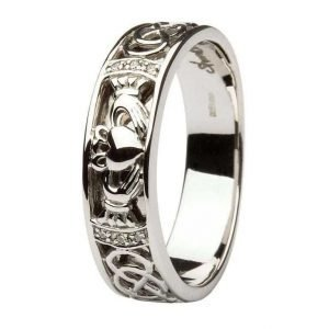 Claddagh Wedding Band Gents Diamonds Set With Celtic Knotwork 14Ic4W