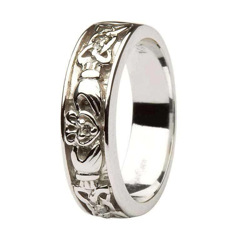 Claddagh Wedding Band Ladies Diamonds Set With Celtic Knotwork 14Ic13