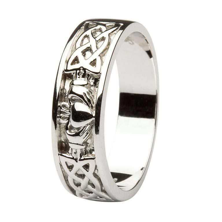 Claddagh Wedding Ring Gents With Celtic Knotwork 14Ic11