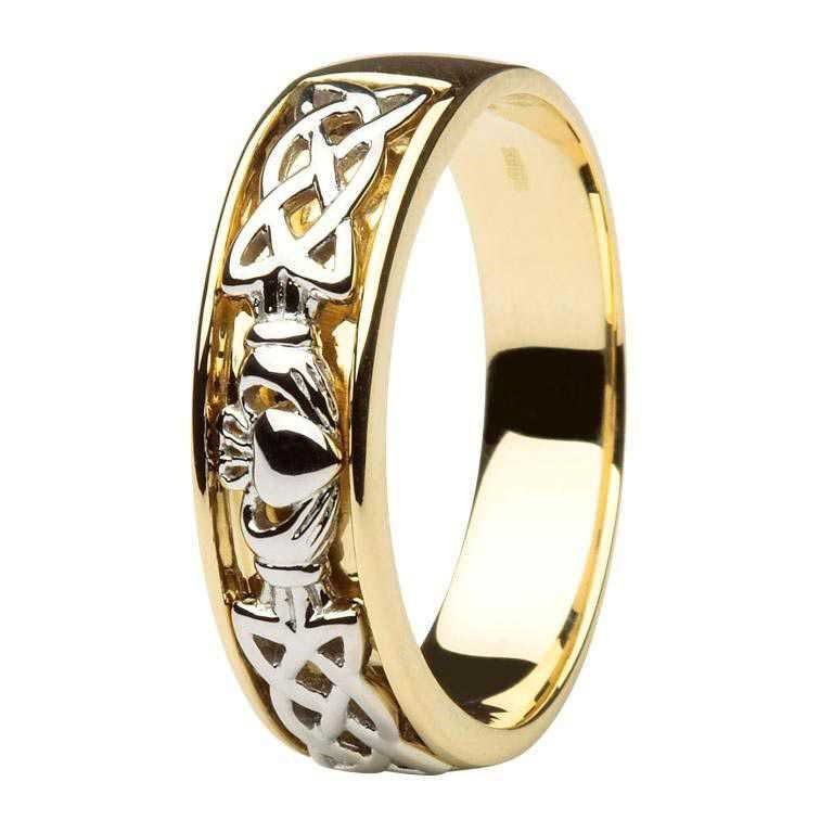 Claddagh Wedding Ring Two Tone Gents With Celtic Knotwork 14Ic12