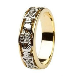 Claddagh Wedding Ring Two Tone Ladies Diamonds Set With Celtic Knotwork 14Ic10
