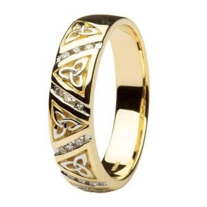 Diamond Wedding Ring Gents With Trinity Design 14Ic24