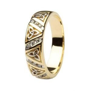 Diamond Wedding Ring Ladies With Trinity Knots 14Ic23