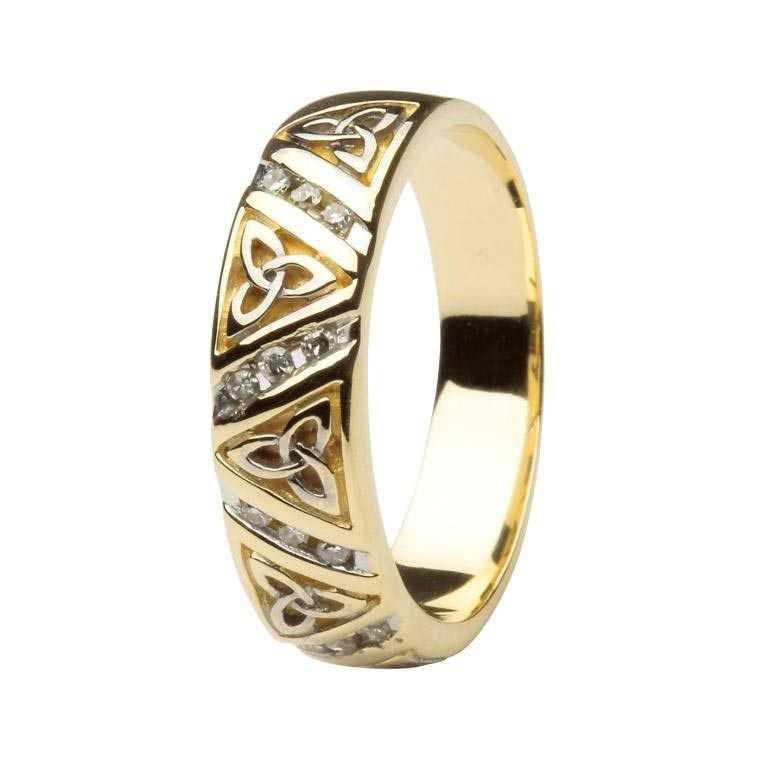 Diamond Wedding Ring Ladies With Trinity Knots 14Ic23