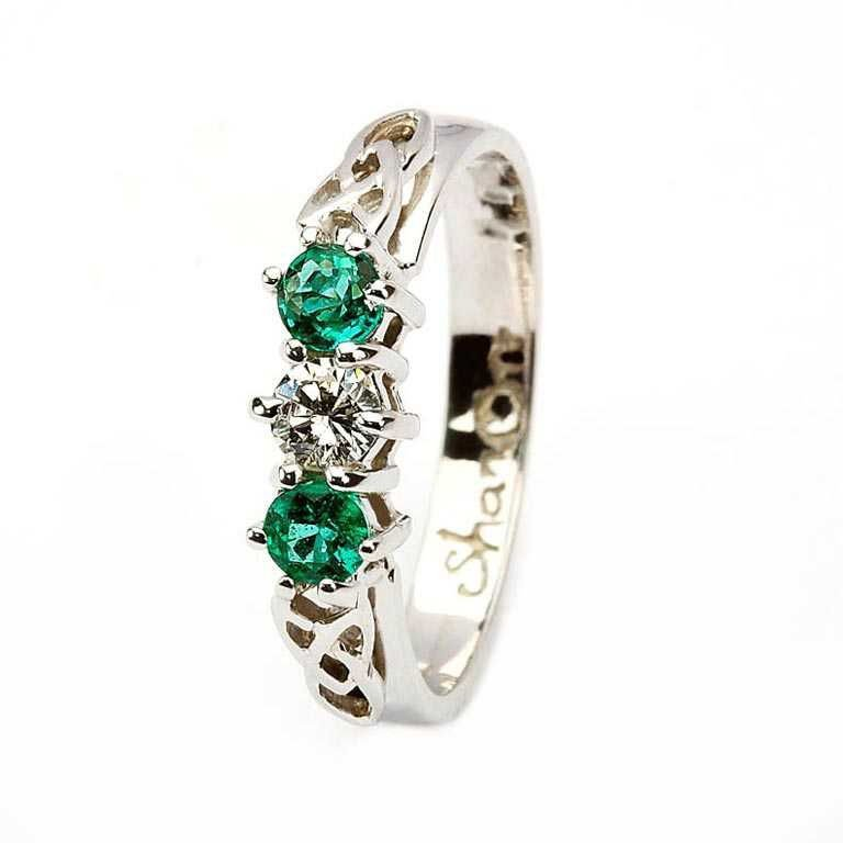Emerald And Diamond Celtic Ring 14K White Gold 3 Stone 14Rc3Stwed