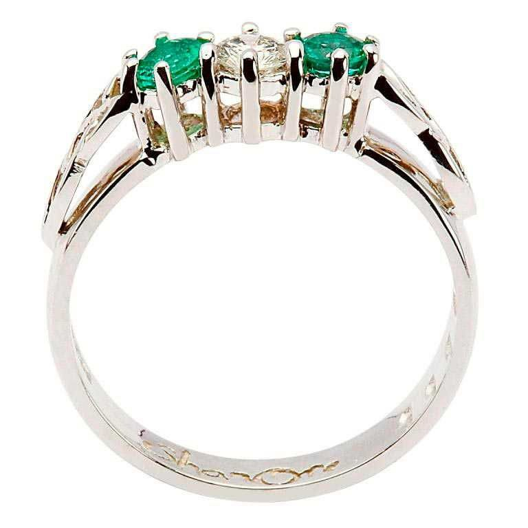 Emerald And Diamond Celtic Ring 14K White Gold 3 Stone 14Rc3Stwed_2