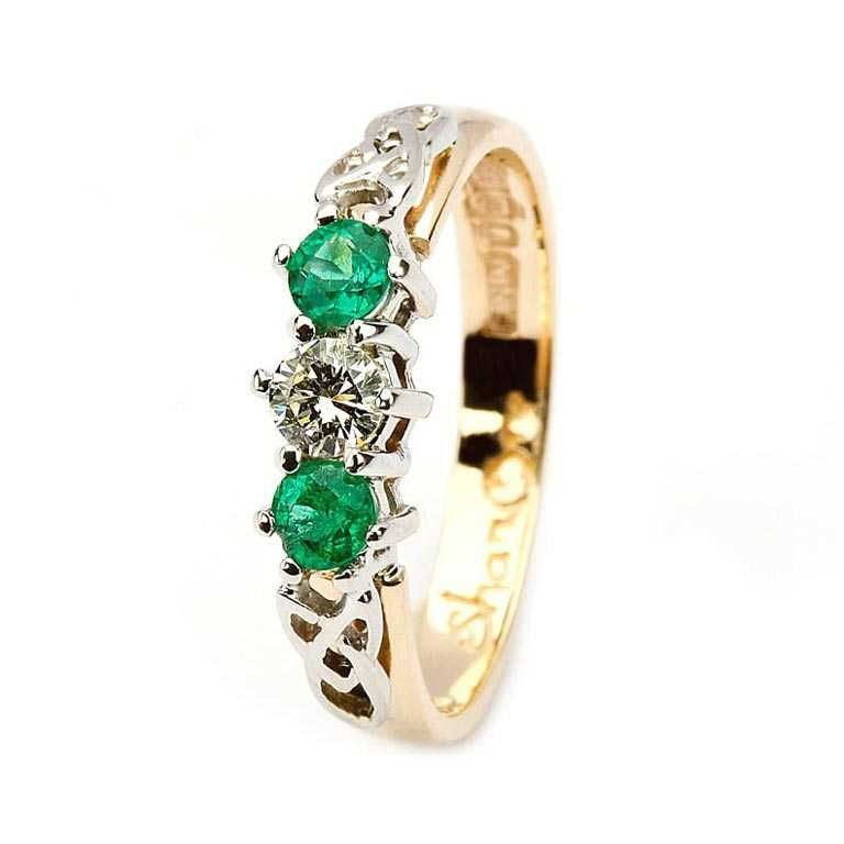 Emerald And Diamond Celtic Trinity 14K Yellow And White Gold 3 Stone 14Rc3Sted