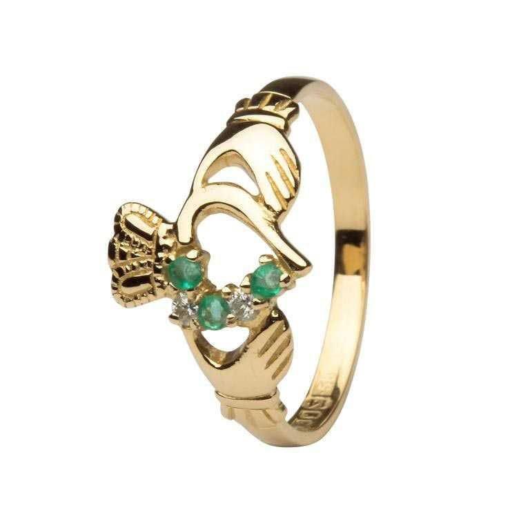 Emerald And Diamond Part Set Claddagh Ring 14L75Ed