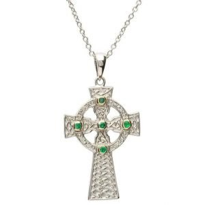 Emerald Set Celtic Knot Design Cross Sf26