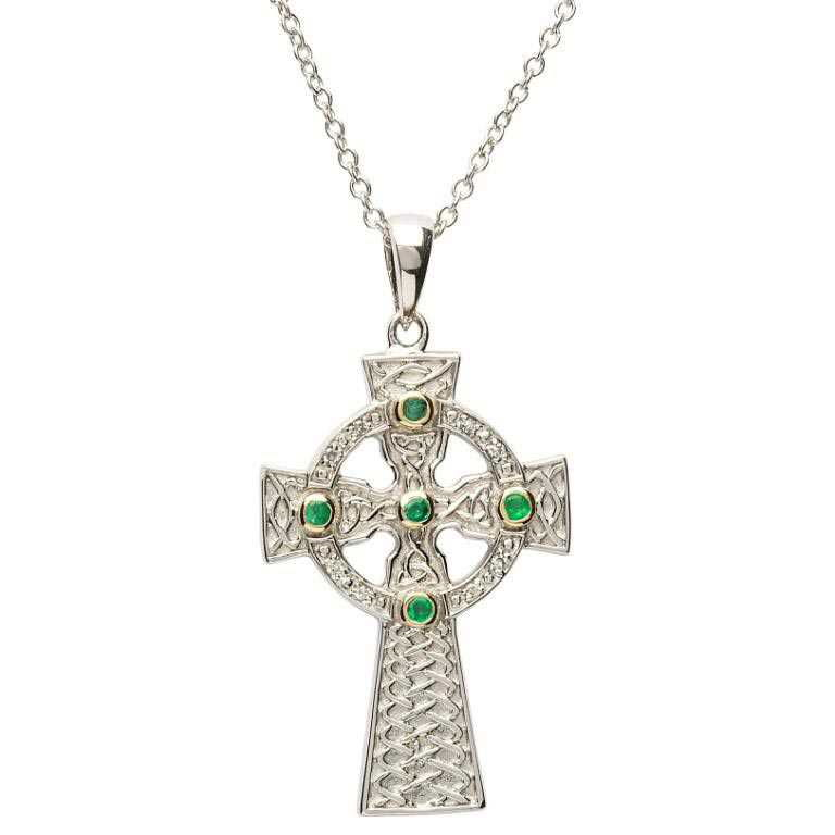 Emerald Set Celtic Knot Design Cross Sf26