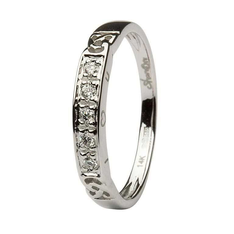 Five Stone Diamond Set Celtic I Love You Eternity Styled Ring 14Ic31Wd
