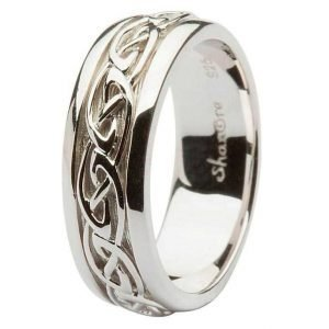 Gent Silver Celtic Knot Wedding Ring Sd11