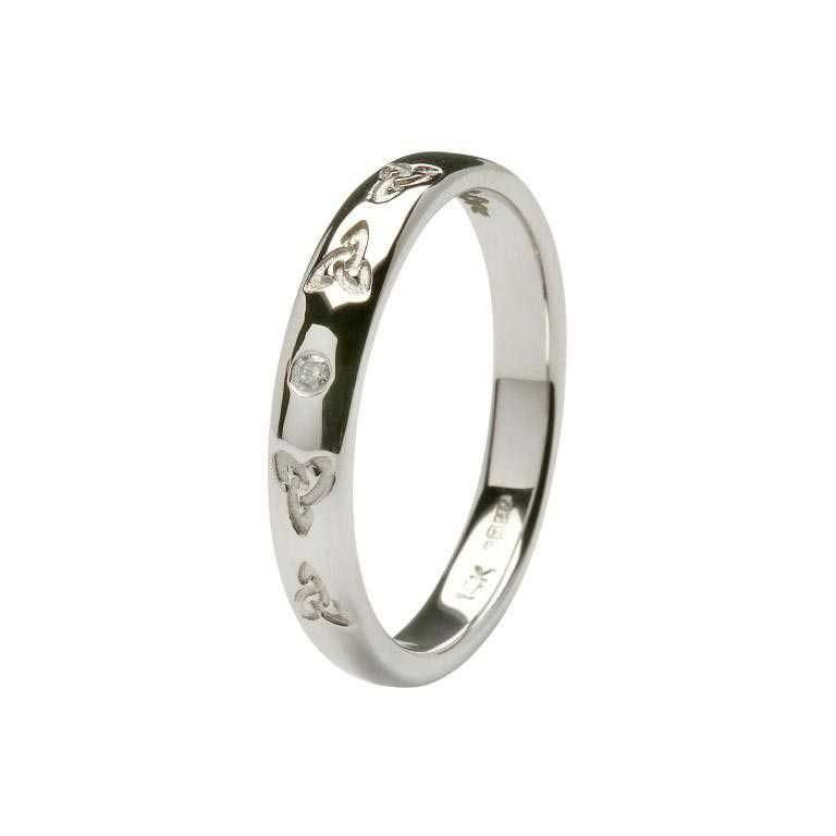 Gents Celtic Embossed Pressure Set Diamond Gold Wedding Ring 14Ic45W