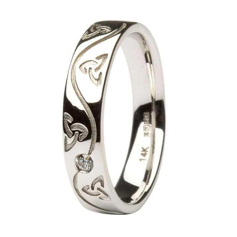 Gents Celtic Recessed Pressure Set Diamond Wedding Ring 14Ic54W