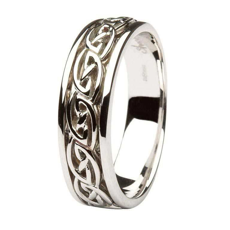 Gents Gold Wedding Ring Celtic Knot Design 14Ic18W