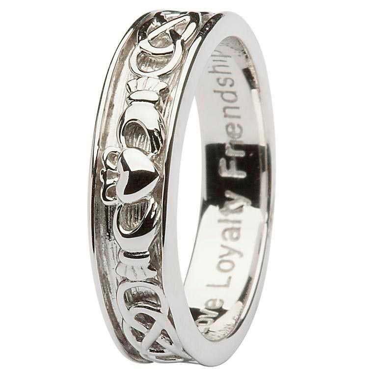 Gents Silver Claddagh Celtic Wedding Ring Sd9