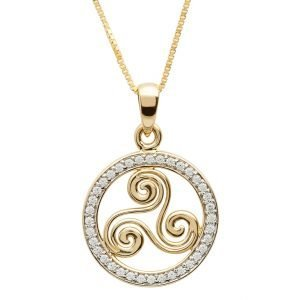 Gold 10K Celtic Stone Set Swirl Necklace 10P647
