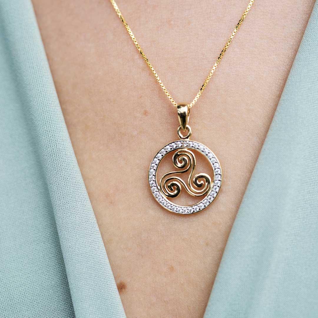 Gold 10K Celtic Stone Set Swirl Necklace 10P647_2