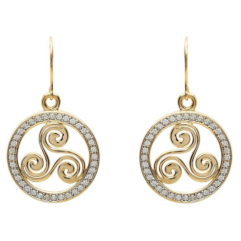 Gold 10K Celtic Swirl Stone Set Earrings 10E648