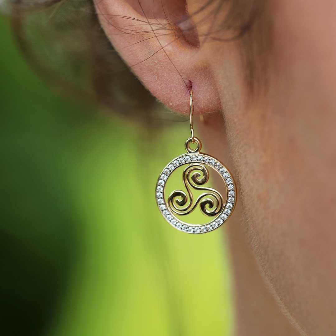 Gold 10K Celtic Swirl Stone Set Earrings 10E648_2