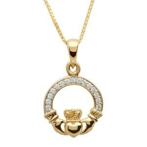 Gold 10K Claddagh Pave Set Necklace 10P631