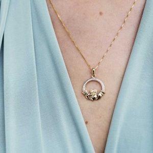 Gold 10K Claddagh Pave Set Necklace 10P631_2