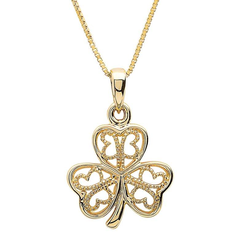 Gold 10K Filigree Shamrock Necklace 10P637