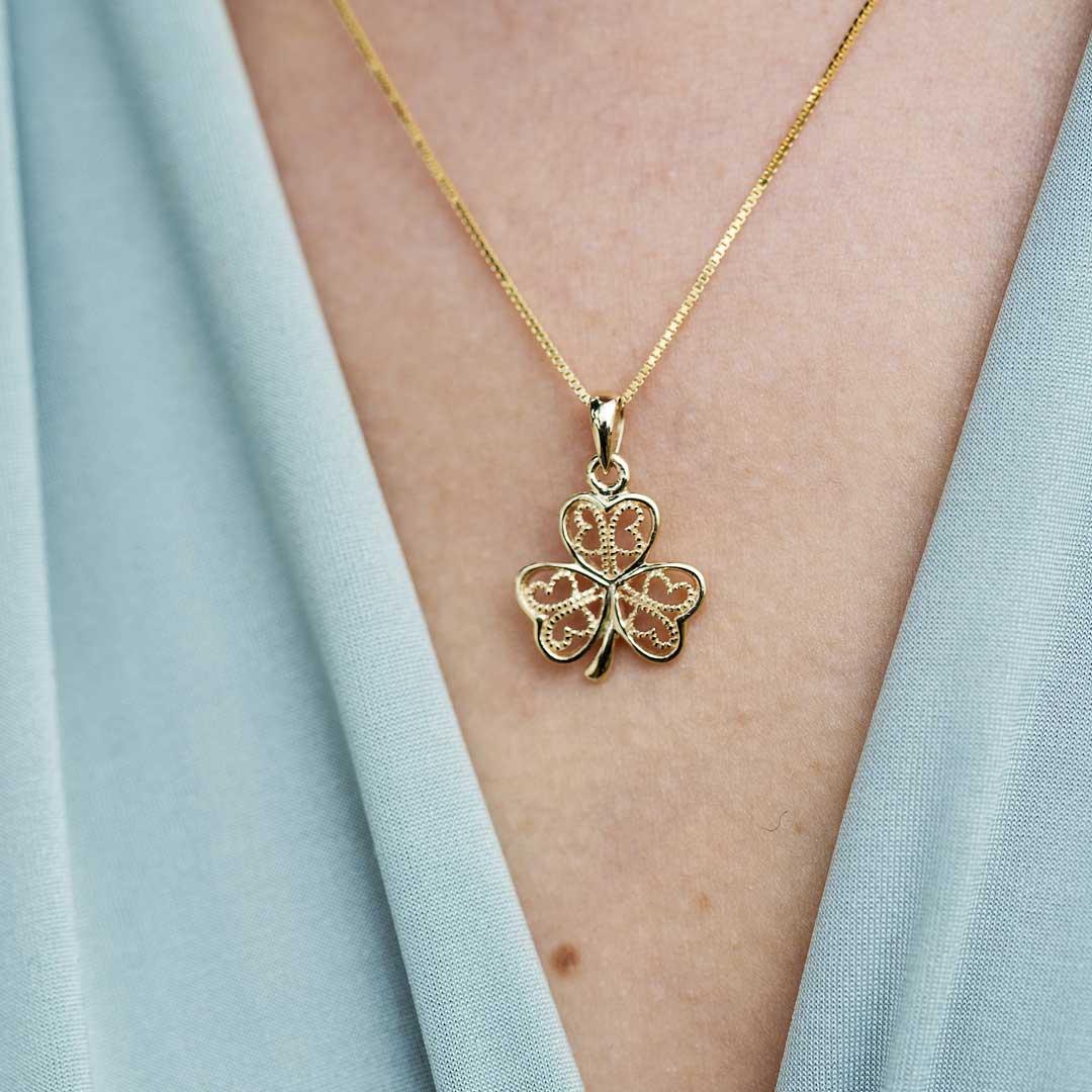 Gold 10K Filigree Shamrock Necklace 10P637_2