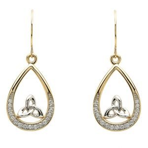 Gold 10K Pave Set Trinity Knot Earrings 10E646