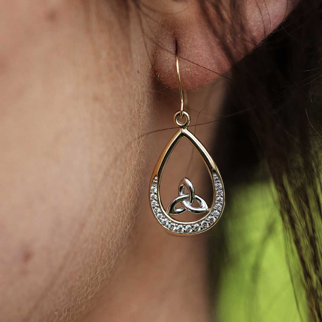 Gold 10K Pave Set Trinity Knot Earrings 10E646_2