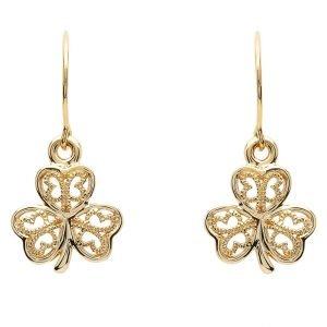 Gold 10K Shamrock Filigree Earrings 10E638