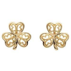 Gold 10K Shamrock Filigree Stud Earrings 10E639