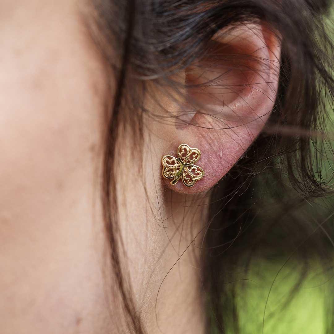 Gold 10K Shamrock Filigree Stud Earrings 10E639_2