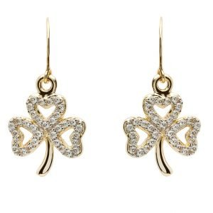 Gold 10K Shamrock Stone Set Earrings 10E652