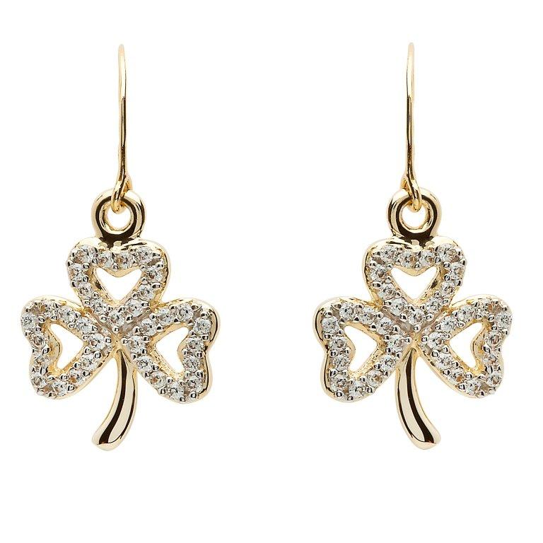 Gold 10K Shamrock Stone Set Earrings 10E652