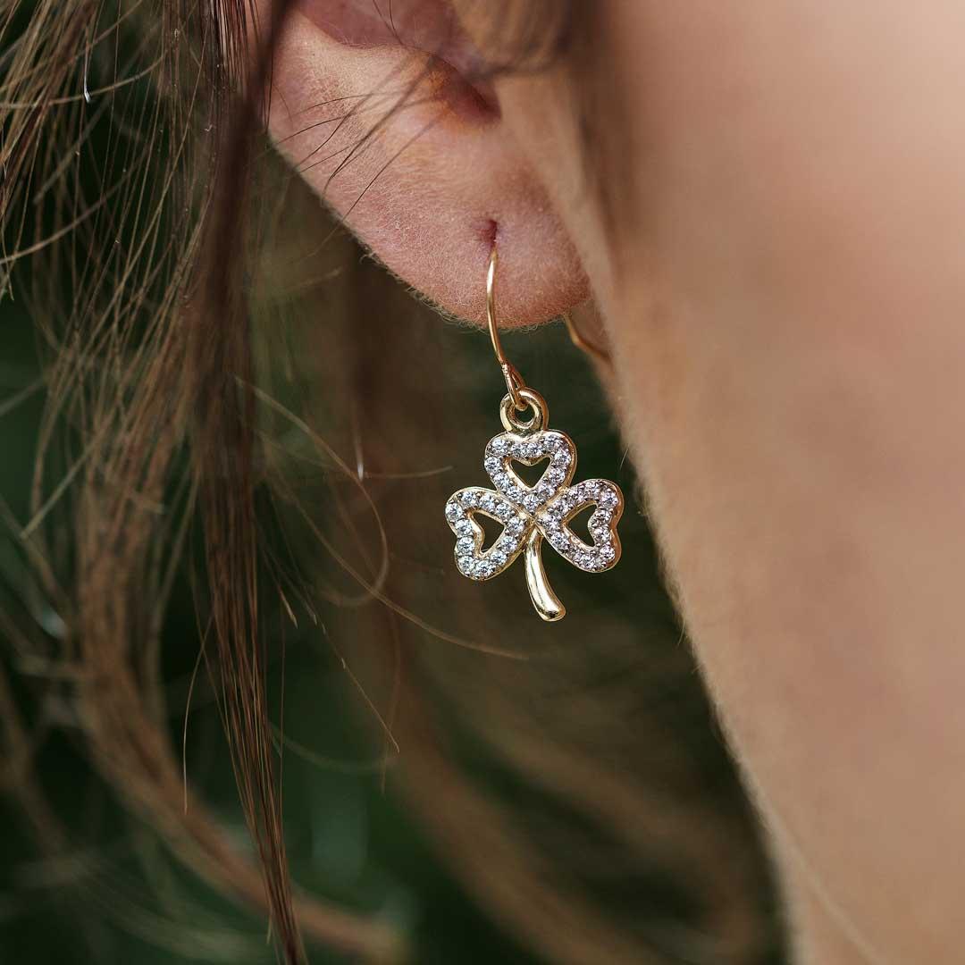 Gold 10K Shamrock Stone Set Earrings 10E652_2