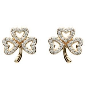 Gold 10K Shamrock Stone Set Stud Earrings 10E653