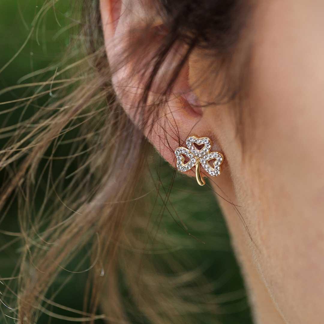 Gold 10K Shamrock Stone Set Stud Earrings 10E653_2