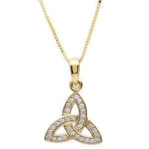 Gold 10K Trinity Knot Stone Set Necklace 10P649